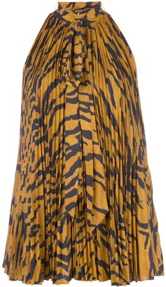 Adam Lippes Pleated Tiger-Print Blouse