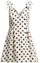 Zimmermann Corsage Polka-dot Cotton Mini Dress - Womens - Black White