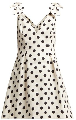 Zimmermann Corsage Polka-dot Cotton Mini Dress - Womens - Black White