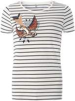 Only **Only White Stripe Bird Print T-Shirt