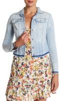 Jessica Simpson Embroidered Frayed Trim Denim Jacket