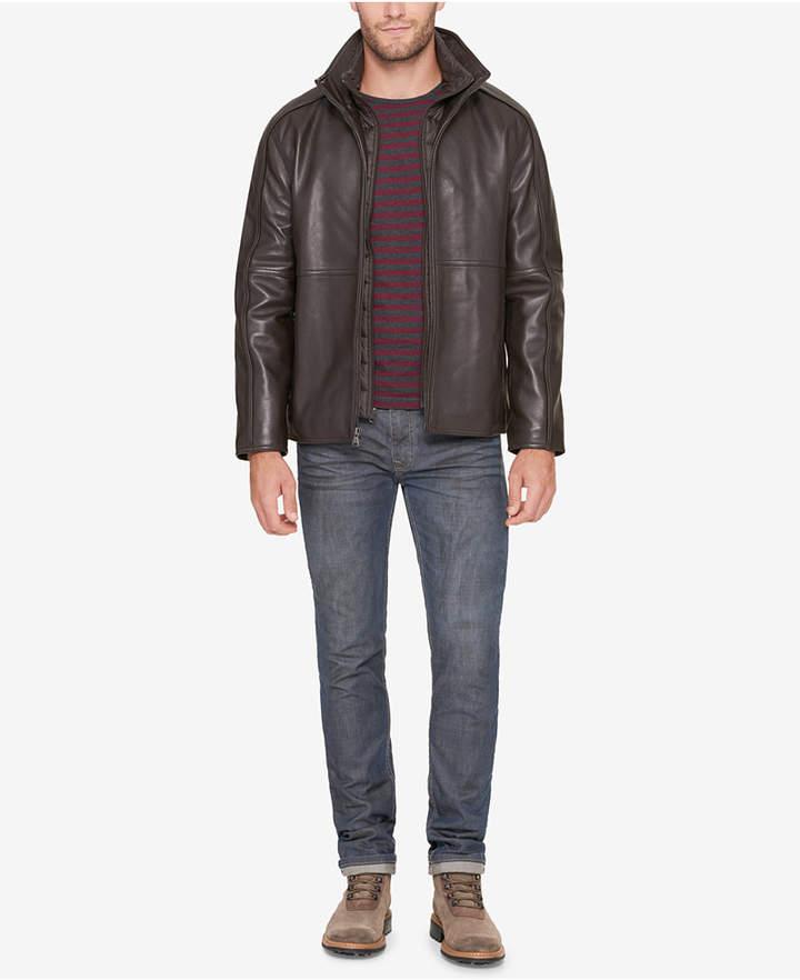 Andrew Marc Men Leather Jacket with Bib