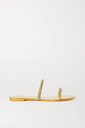 Giuseppe Zanotti Kanda Crystal-embellished Metallic Leather Sandals - Gold