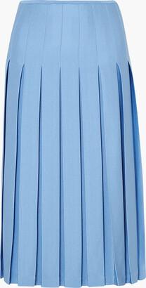 Victoria Beckham Pleated Crepe Midi Skirt