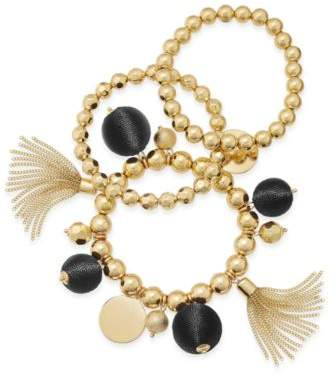 INC International Concepts Gold-Tone 3-Pc. Set Beaded Tassel and Ball Stretch Bracelets, Created for Macy's