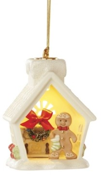 Lenox Lit House and Gingerbread Scene Ornament