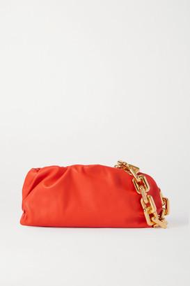 Bottega Veneta The Pouch Chain-embellished Gathered Leather Clutch - Orange