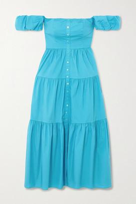 STAUD Elio Off-the-shoulder Tiered Stretch-cotton Poplin Midi Dress - Bright blue