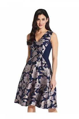 Adrianna Papell Floral Jacquard Combo Dress