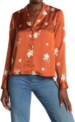 ALL IN FAVOR Floral Satin Button Front Blouse