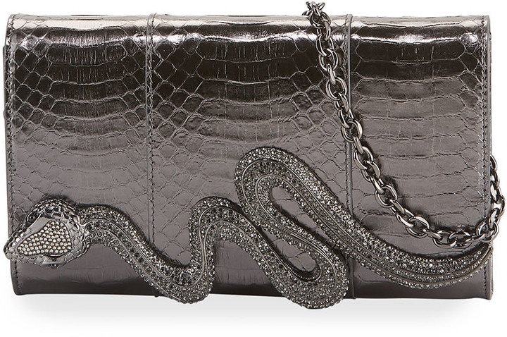 Judith Leiber Serpent Snakeskin Clutch Bag