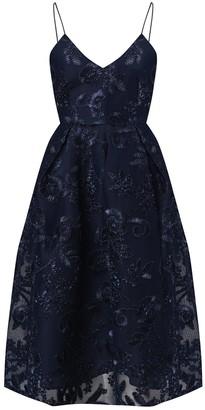 True Decadence Navy 3D Embroidery Cami Midi Dress