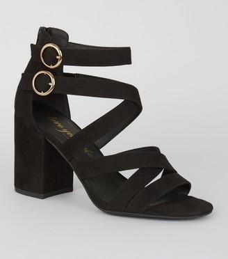 New Look Strappy Buckle Block Heels