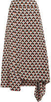 Marni Asymmetric Printed Silk Crepe De Chine Midi Skirt - Orange