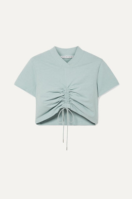 Alexander Wang Cropped Ruched Cotton-jersey T-shirt - Sky blue