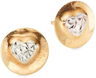 Saks Fifth Avenue 14K Yellow & White Gold Heart Disc Earrings
