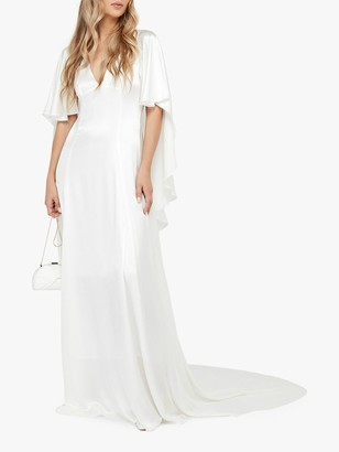 Monsoon Vera Bridal Satin Cape Maxi Dress, Ivory
