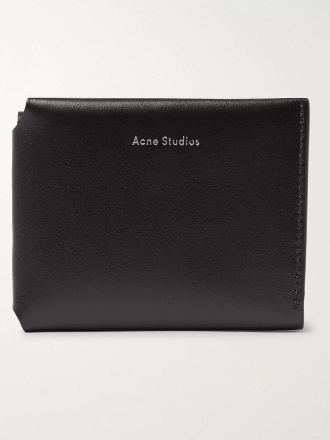 Acne Studios Logo-Print Leather Trifold Wallet - Men - Black