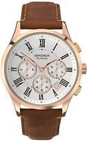 Sekonda Chronograph Style Brown Leather Strap Mens Watch