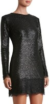 Dress the Population Women's Kate Lace Trim Sequin Dress
