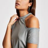 River Island Khaki metallic cold shirt embellished top