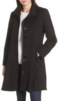 Sofia Cashmere Women's Funnel Neck Wool & Cashmere Flounce Coat