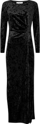 Wallis PETITE Black Velvet Wrap Maxi Dress