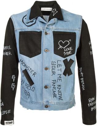 Faith Connexion contrast panel 'Doodle' denim jacket