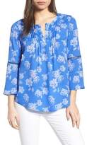 Chaus Bell Sleeve Floral Pintuck Blouse
