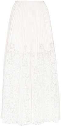 Valentino pleated lace trim maxi skirt