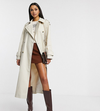 Asos DESIGN Tall longline trench coat in stone