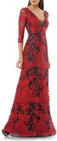 JS Collections Women's Embroidered Lace Gown