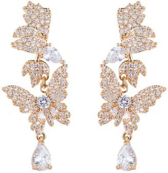 Eye Candy Los Angeles Pave CZ Dreamy Butterfly Crystal Drop Earrings