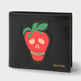 Paul Smith Men's Black Leather Billfold Wallet With 'Strawberry Skull' Patch