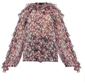 Giambattista Valli Ruffled Floral-print Silk-chiffon Blouse - Black Multi