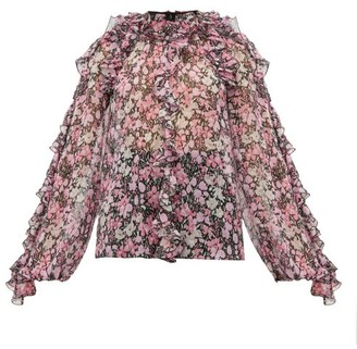 Giambattista Valli Ruffled Floral-print Silk-chiffon Blouse - Womens - Black Multi
