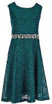 Xtraordinary Big Girls 7-16 Glitter Chevron Embellished-Waist A-line Dress