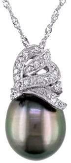 Sonatina 18K White Gold, 10-10.5mm Black Tahitian Pearl & Diamond Pendant Necklace