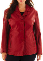 JCPenney Excelled Leather Excelled Button-Front Jacket - Plus