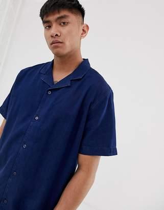 Levi's Cubano short sleeve denim shirt revere collar in flat finish-Blue