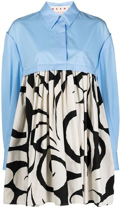Marni Arabesque print cotton shirt dress