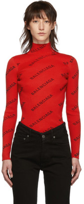 Balenciaga Red Rib Knit Logo Turtleneck