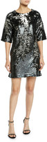J Brand Lily Sequin Short-Sleeve Shift Dress
