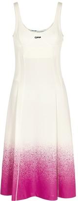 Off-White White paint-effect jersey midi dress