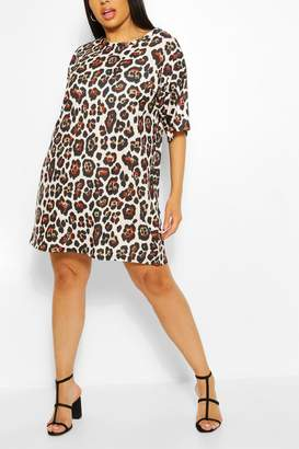 boohoo Plus Leopard Print Oversized T-shirt Dress