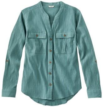 L.L. Bean Women's Soft Cotton Crinkle Shirt, Roll-Tab