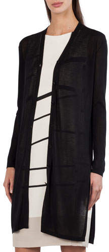 Akris Long-Sleeve Button-Front Cardigan with Side Slits