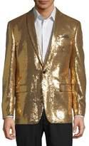 Tallia Orange Metallic Sequined Sportcoat