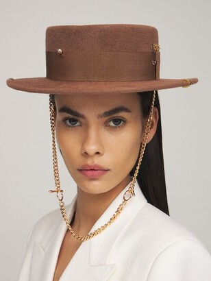 Ruslan Baginskiy Piercing Canotier Felt Hat