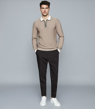 Reiss Mauritizio - Long Sleeved Zip Neck Polo in Taupe